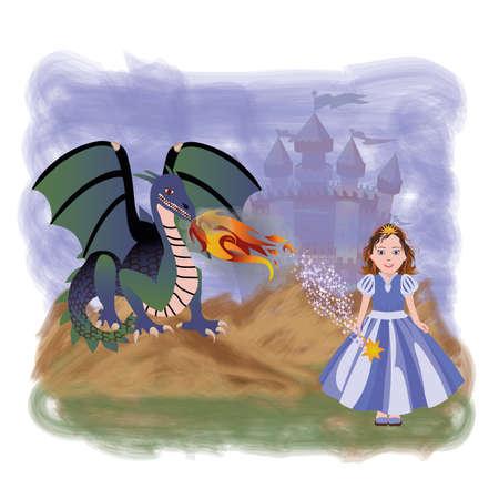 magic young: Young princess and magic dragon, vector illustration Illustration