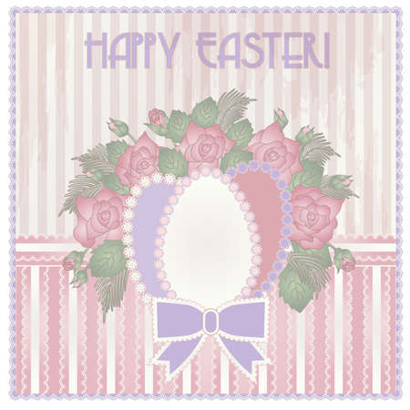 pascua: Happy Easter invitation vintage card, vector illustration