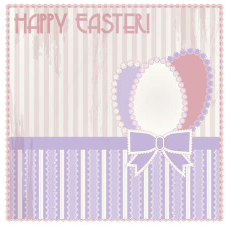 pascua: Happy Easter vintage card, vector illustration