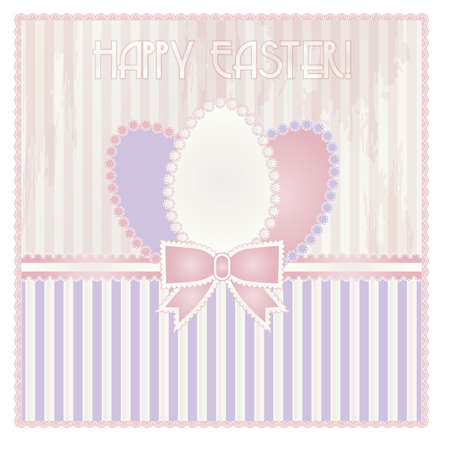pascua: Happy Easter old card, vector illustration
