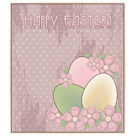 pascua: Happy Easter invitation old card, vector illustration