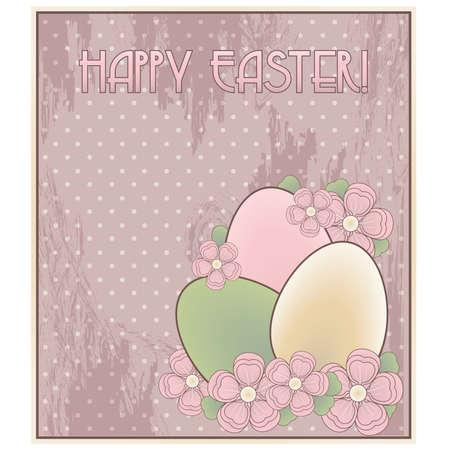 Happy Easter invitation old card, vector illustration