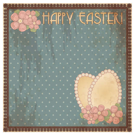 pascua: Happy Easter vintage gift card, vector illustration Illustration