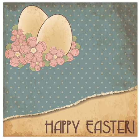 pascua: Happy Easter old gift card, vector illustration Illustration