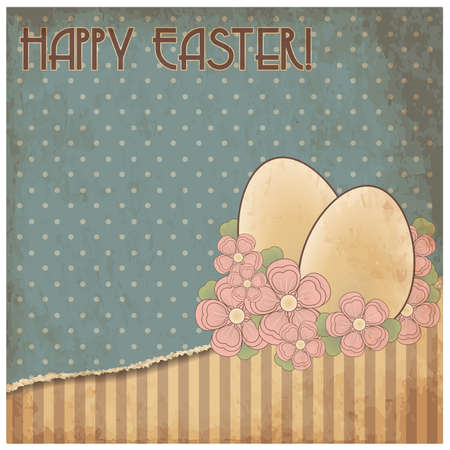 Happy Easter old greeting card, vector illustration Illustration