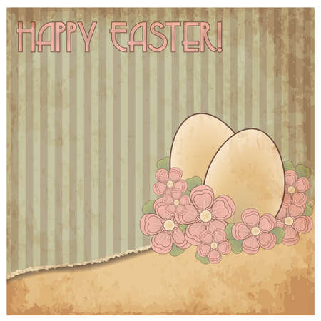 pascua: Happy Easter old cover card, vector illustration
