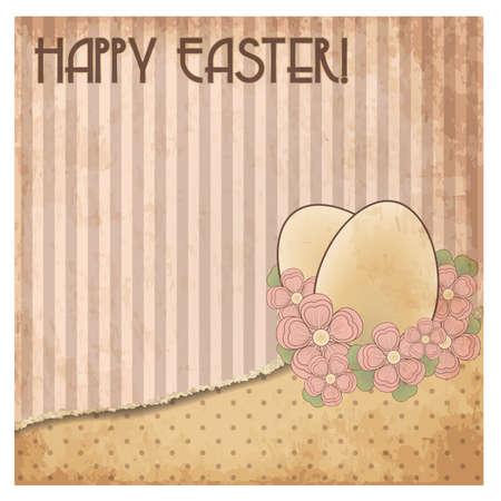 Happy Easter oude uitnodiging kaart, vector illustratie