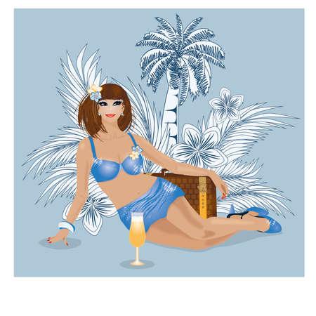 sexual woman: Summer travel sexual woman illustration Illustration
