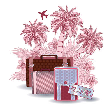packing suitcase: Summer travel invitation card, vector illustration