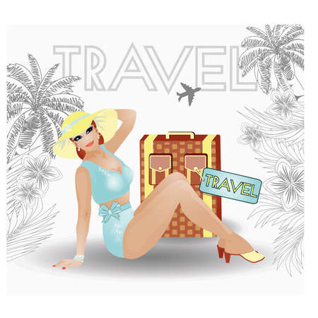 pin up: Summer travel pin up sexy women, vector illustration
