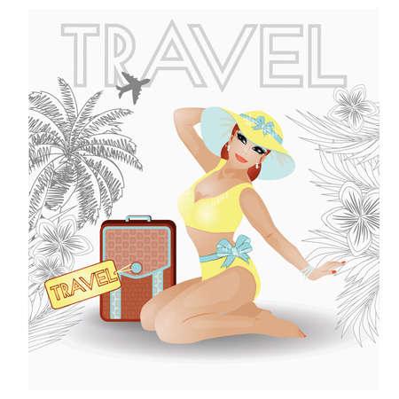 pin up vintage: Viaggi estate pin up giovani donne, illustrazione vettoriale
