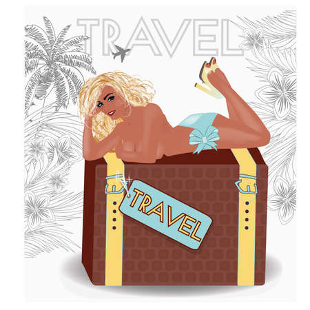 Summer travel sexy pin up girl, vector illustration Illustration
