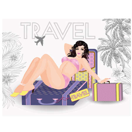nacked: Summer travel sexy pin up young girl, vector illustration