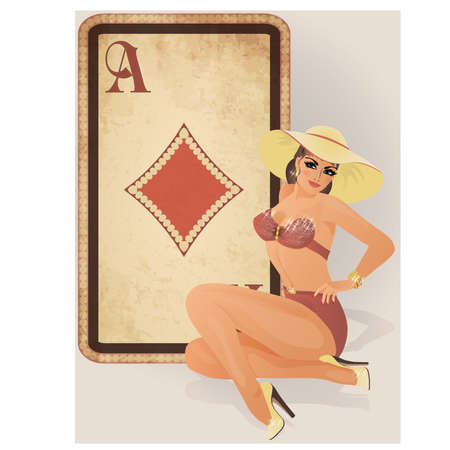 straight pin: Diamonds poker card with pin up sexy girl, vector illustration