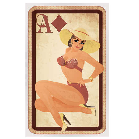 panama hat: Diamonds poker cards pin up woman, vector illustration