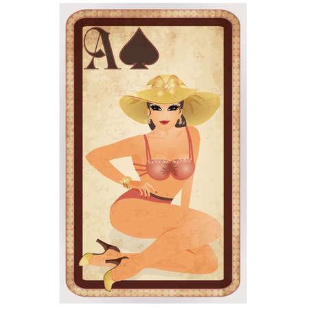 gambler: Spades poker cards pin up woman, vector illustration Illustration