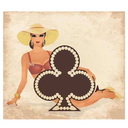 gambler: Casino Clubs poker cards pin up woman, vector illustration