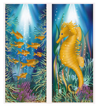 seafish: Underwater banner with seahorse and golden fish, vector illustration