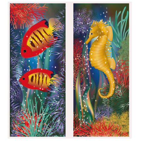 seafish: Underwater banners with seahorse and red tropical fish, vector illustration