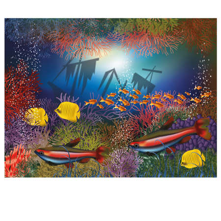 Underwater wallpaper with shipwrecks and tropical fish, vector illustration Vector