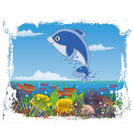 Children's maritime cover design with baby dolphin vector illustration