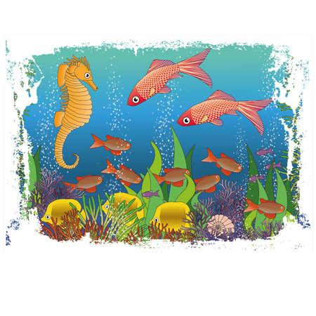 Children's maritime wallpaper vector illustration