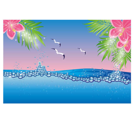 Underwater tropical card vector illustration Vector