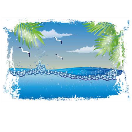 nature wallpaper: Underwater nature wallpaper vector illustration