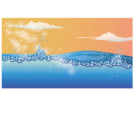 beneath the surface: Underwater natural background vector illustration