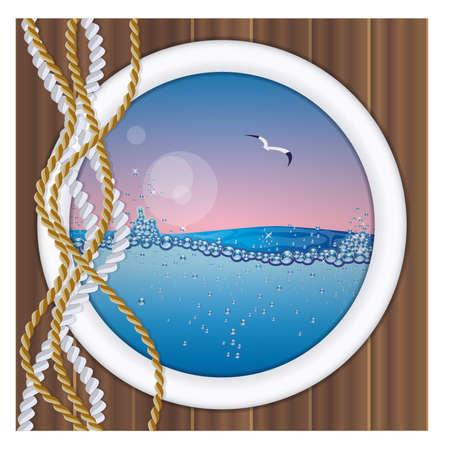 oceanography: Obl� della nave con vista subacquea illustrazione vettoriale