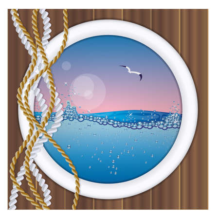 oceanography: Ship porthole with underwater view vector illustration Illustration