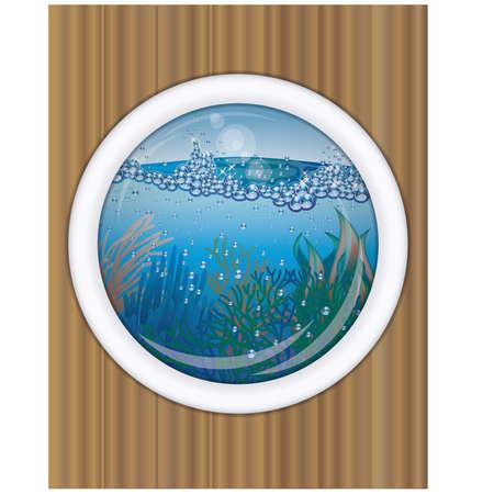 oceanography: Ship porthole underwater cover design  vector illustration Illustration