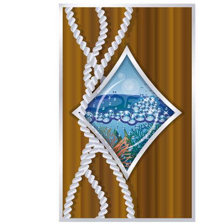 porthole: Diamonds poker card ship porthole vector illustration