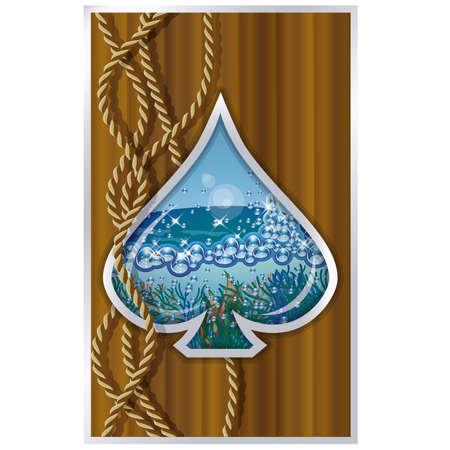 poker card: Spade poker card ship porthole vector illustration