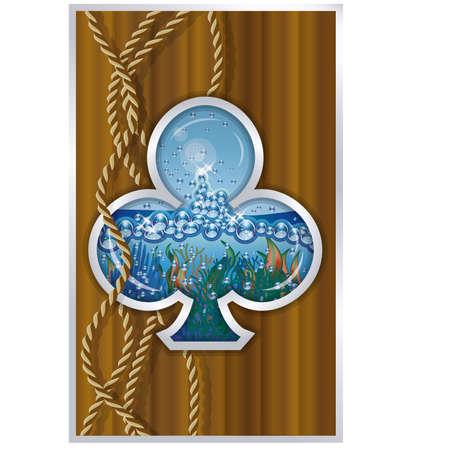 porthole: Clubs poker card ship porthole vector illustration