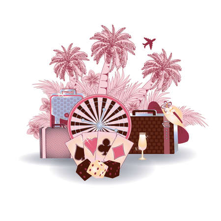 shopping champagne: Summer travel casino card vector illustration Illustration