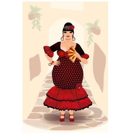 XXL spanish flamenco girl , vector illustration Illustration