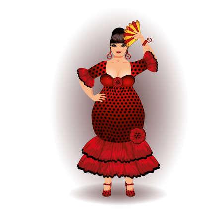 Beautiful spanish flamenco girl XXL with a fan, vector illustration Illustration