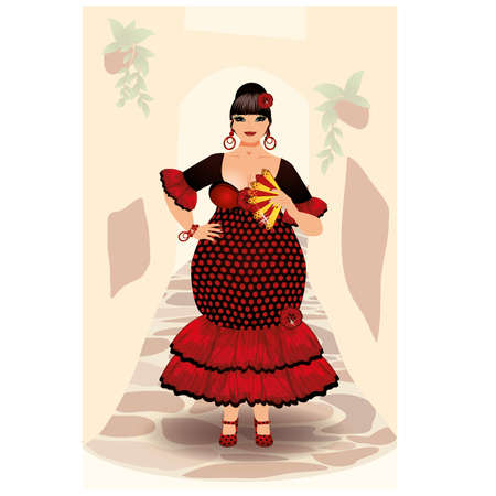 plus size girl: Spanish flamenco woman vector illustration
