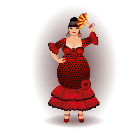 plus size girl: Spain flamenco woman isolated. vector illustration
