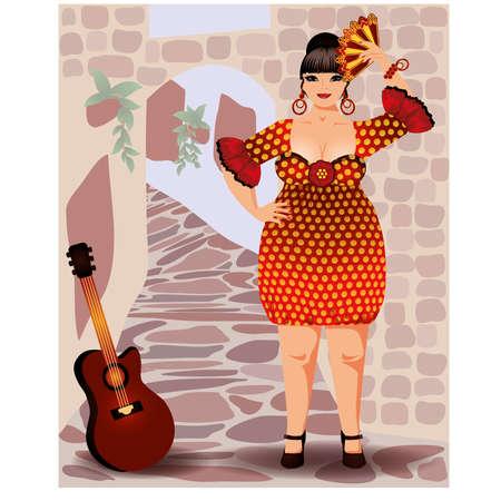 sensual: Spanish woman in flamenco dress vector
