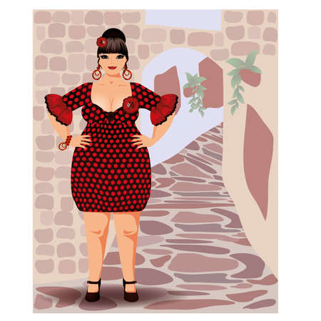 xl: Spanish sexy woman en flamenco dress vector illustration