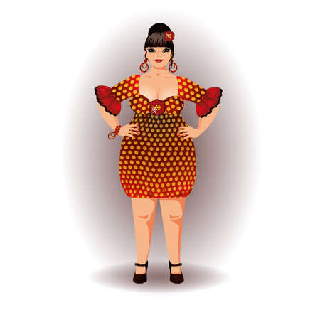 donna spagnola: Flamenco spagnolo illustrazione vettoriale donna