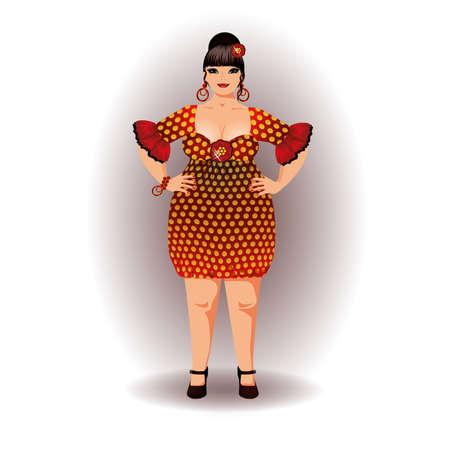 plus size girl: Spanish flamenco woman vector illustration