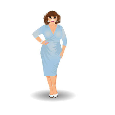 plus size girl: Beautiful plus size woman in blue dress vector illustration