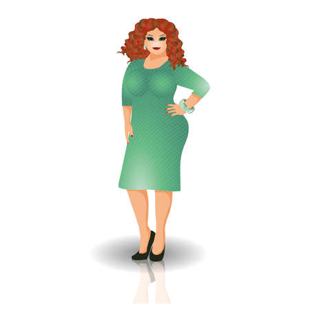 plus size girl: Sensual plus size woman in dress  vector illustration