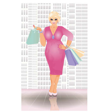 plus size girl: Plus size shopping blonde woman, vector illustration