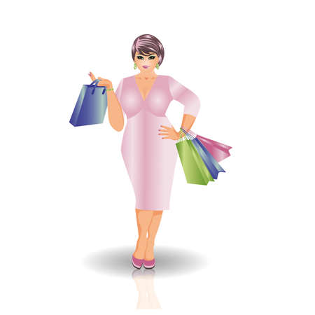 buisness woman: Plus size shopping woman, vector illustration