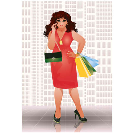 Plus size shopping woman in red dress, vector illustration Illustration