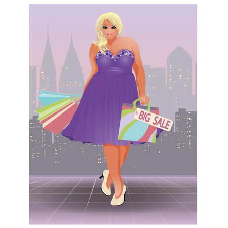 size: Plus size shopping girl, vector illustration Illustration